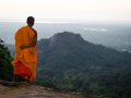 Buddhist monk watching the sunset in Mihintale